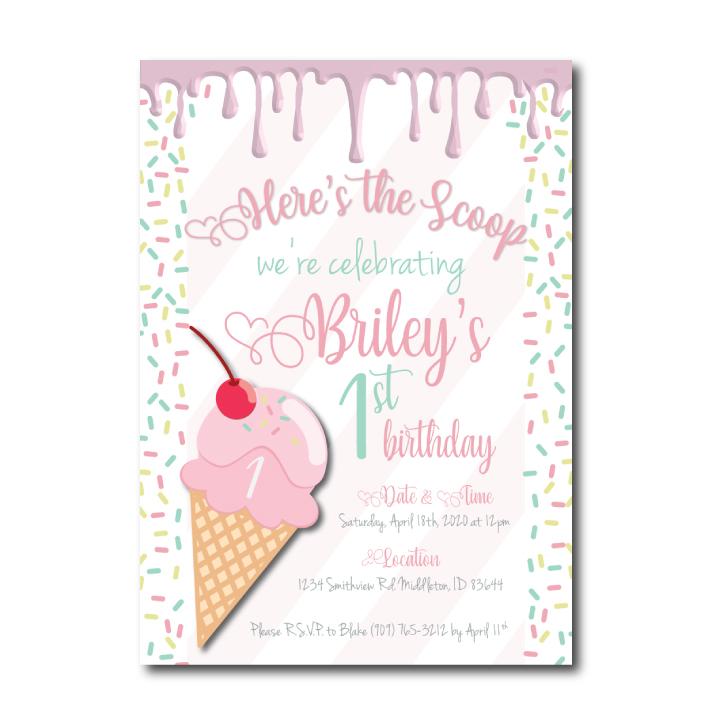 1st Birthday Ice Cream Invitation