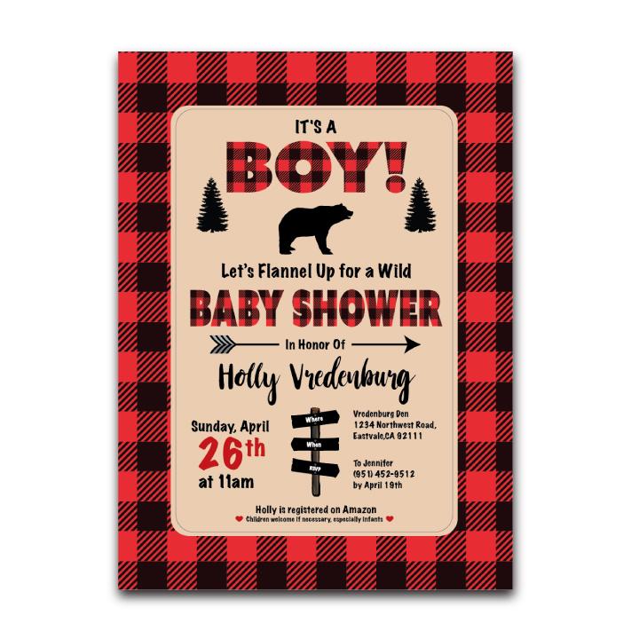 Baby Shower Invite – Bears & Buffalo Plaid