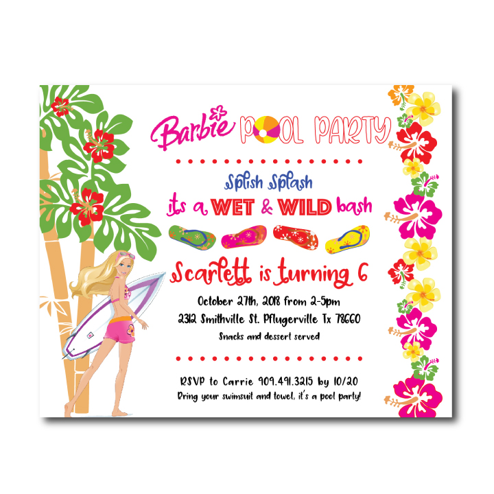 Barbie Birthday Invite