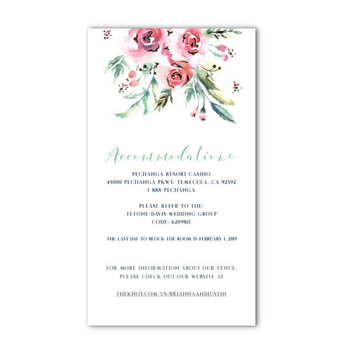 Accommodation Card for Wedding Invitation