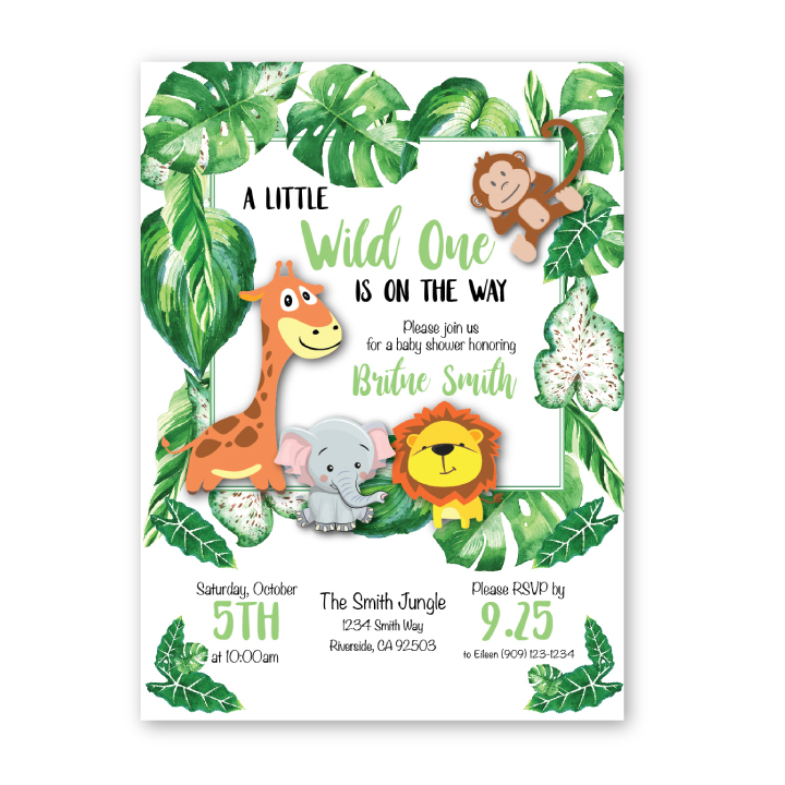 Jungle Themed Baby Shower Invitation