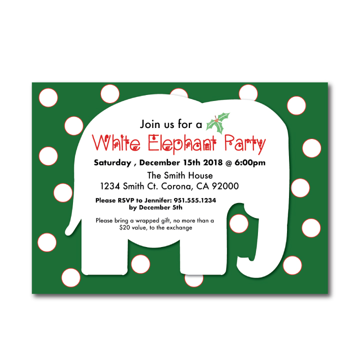 White Elephant Christmas Party Invitation